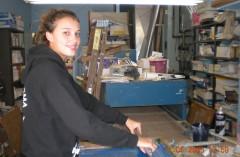 Brittney working on T-shirts