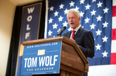 Former President Bill Clinton speaking at Tom Wolf event